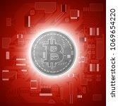 hud golden bitcoin. digital... | Shutterstock .eps vector #1069654220