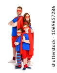 super family in costumes... | Shutterstock . vector #1069657286
