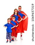 super family in masks and... | Shutterstock . vector #1069657319
