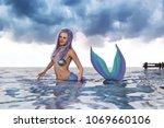 3d fantasy mermaid in mythical... | Shutterstock . vector #1069660106