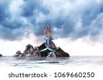 3d fantasy mermaid in mythical... | Shutterstock . vector #1069660250