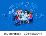 isometric people team... | Shutterstock .eps vector #1069663049