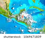 belize highlighted in red on... | Shutterstock . vector #1069671839