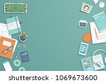 workplace desktop background.... | Shutterstock .eps vector #1069673600
