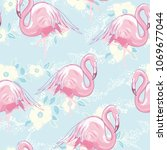 seamless flamingo pattern... | Shutterstock . vector #1069677044