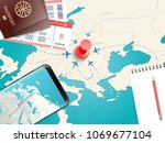 travel accessories vector... | Shutterstock .eps vector #1069677104