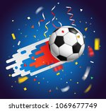 soccer ball with confetti.... | Shutterstock .eps vector #1069677749