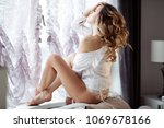 beautiful sexy lady in elegant... | Shutterstock . vector #1069678166