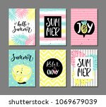 vector set of bright summer... | Shutterstock .eps vector #1069679039