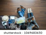 overhead view of traveler's... | Shutterstock . vector #1069683650
