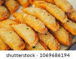 close up of curry puff  | Shutterstock . vector #1069686194