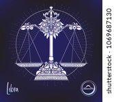 libra  weigher zodiac sign....   Shutterstock .eps vector #1069687130