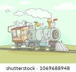 sketch of little people on... | Shutterstock .eps vector #1069688948