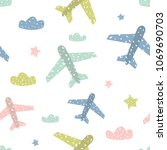childish seamless pattern with... | Shutterstock . vector #1069690703