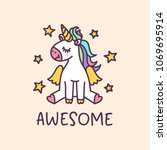 unicorn cute cartoon drawing... | Shutterstock .eps vector #1069695914