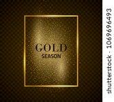 gold shiny frame on a dark... | Shutterstock .eps vector #1069696493