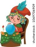 cartoon fortuneteller character ... | Shutterstock .eps vector #1069706909