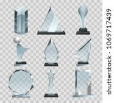 crystal glass trophy or awards... | Shutterstock .eps vector #1069717439