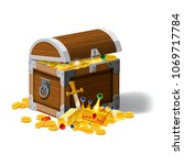old pirate chest full of... | Shutterstock .eps vector #1069717784
