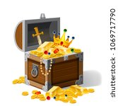 old pirate chest full of... | Shutterstock .eps vector #1069717790