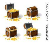 set piratic trunk chests with... | Shutterstock .eps vector #1069717799