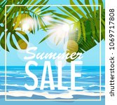 sale summer banner  poster with ...   Shutterstock .eps vector #1069717808