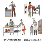 cooking classes. group of... | Shutterstock .eps vector #1069725164