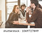 young man is telling... | Shutterstock . vector #1069727849