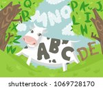 illustration of a cow outdoors... | Shutterstock .eps vector #1069728170