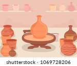 illustration of a potters wheel ... | Shutterstock .eps vector #1069728206