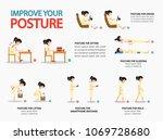 improve your posture... | Shutterstock .eps vector #1069728680