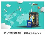 travel composition with famous... | Shutterstock .eps vector #1069731779