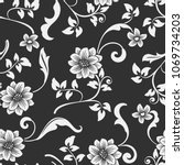 Seamless black and white flower vector pattern. Seamless wrapping paper, textile or upholstery flower print.