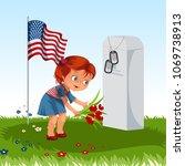 child on military cemetery ... | Shutterstock .eps vector #1069738913