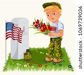 memorial day background ... | Shutterstock .eps vector #1069739036