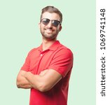 young handsome man with... | Shutterstock . vector #1069741148