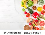 healthy food background  trendy ... | Shutterstock . vector #1069754594