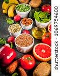 healthy food background  trendy ... | Shutterstock . vector #1069754600