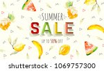 summer sale banner. trendy... | Shutterstock .eps vector #1069757300