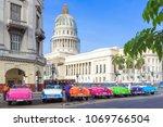colorfulamerican vintage cars...   Shutterstock . vector #1069766504