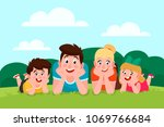 happy family outdoor. son ... | Shutterstock .eps vector #1069766684