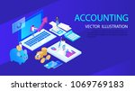 isometric accountant workspace ... | Shutterstock .eps vector #1069769183