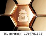 golden user secret icon in the...