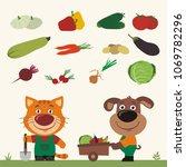 set of isolated vegetables ... | Shutterstock .eps vector #1069782296