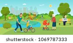 grandmother is walking with a... | Shutterstock .eps vector #1069787333
