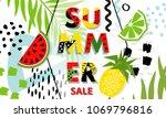trendy tropic and fruit ... | Shutterstock .eps vector #1069796816