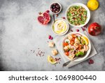 middle eastern arabic dishes... | Shutterstock . vector #1069800440