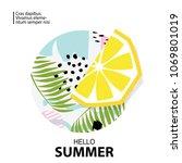 trendy tropic and lemon... | Shutterstock .eps vector #1069801019