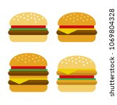 burger icon set. flat style... | Shutterstock .eps vector #1069804328