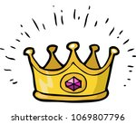cartoon doodle crown on a white ... | Shutterstock .eps vector #1069807796